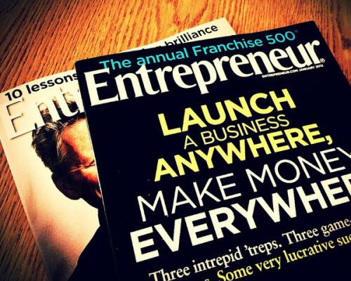 Photo of two Entrepreneur magazines