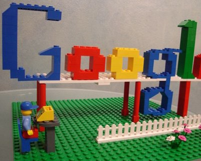 Google logo built with legos